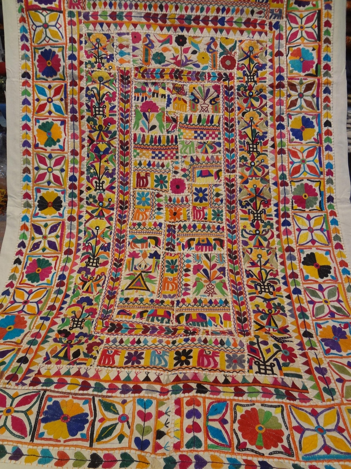 Best And Newest Handmade Old Patchwork Wall Hanging/home Tapestry Made From Old Regarding Indian Fabric Art Wall Hangings (View 1 of 15)