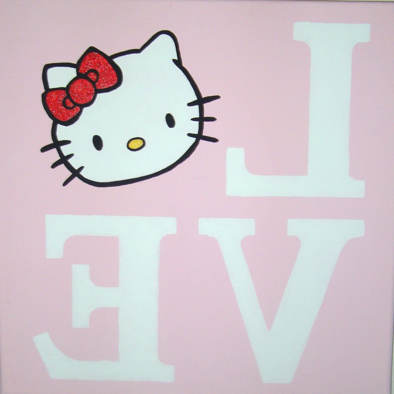 Best And Newest Hello Kitty Canvas Wall Art Pertaining To Love Hello Kitty Canvas Wall Art Painting Handpainted 12X (View 2 of 15)