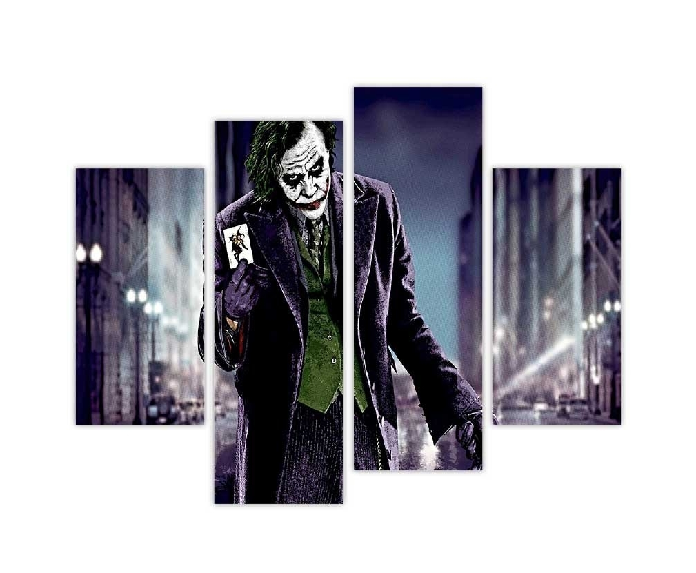 Best And Newest Joker Canvas Wall Art In Iconic Batmans Joker Holding Playing Card In Dark Road Pop Art (Gallery 12 of 15)