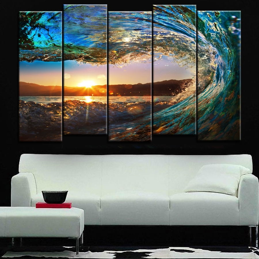Best And Newest Ocean Canvas Wall Art Pertaining To Unframe 5 Pieces Large Canvas Wall Art Huge Wave Painting Modern (Gallery 12 of 15)
