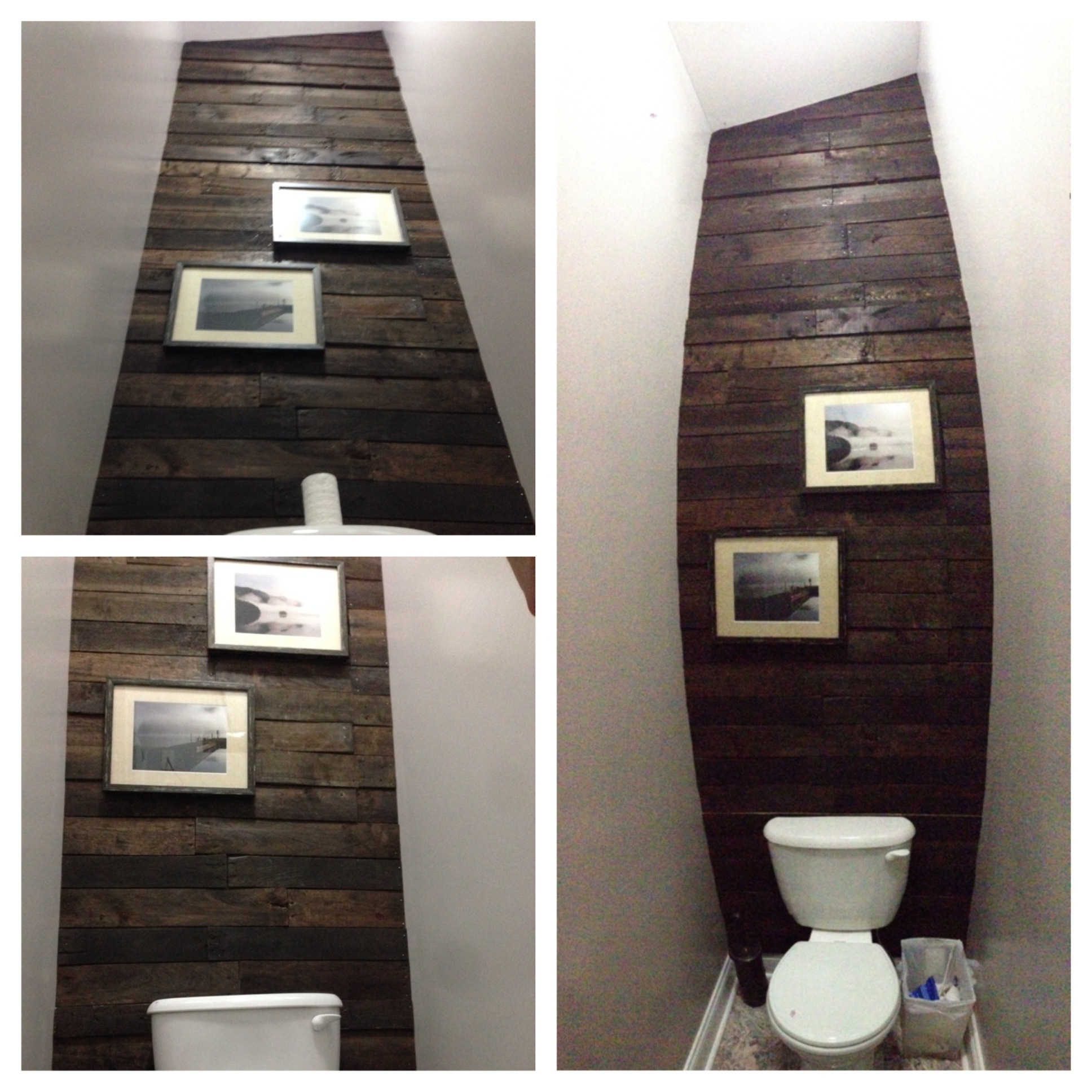 Best And Newest Pallet Accent Wall In Water Closet – Cut Up About 7 Pallets To Get With Regard To Wall Accents Behind Toilet (View 4 of 15)