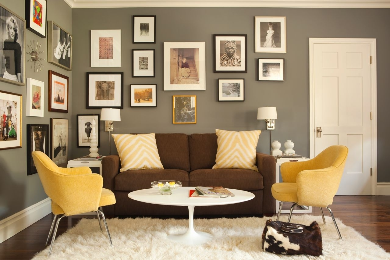 Best And Newest Yellow Chairs, Brown Sofa And Grey Wallskaryn R. Millet For Brown Couch Wall Accents (Gallery 7 of 15)