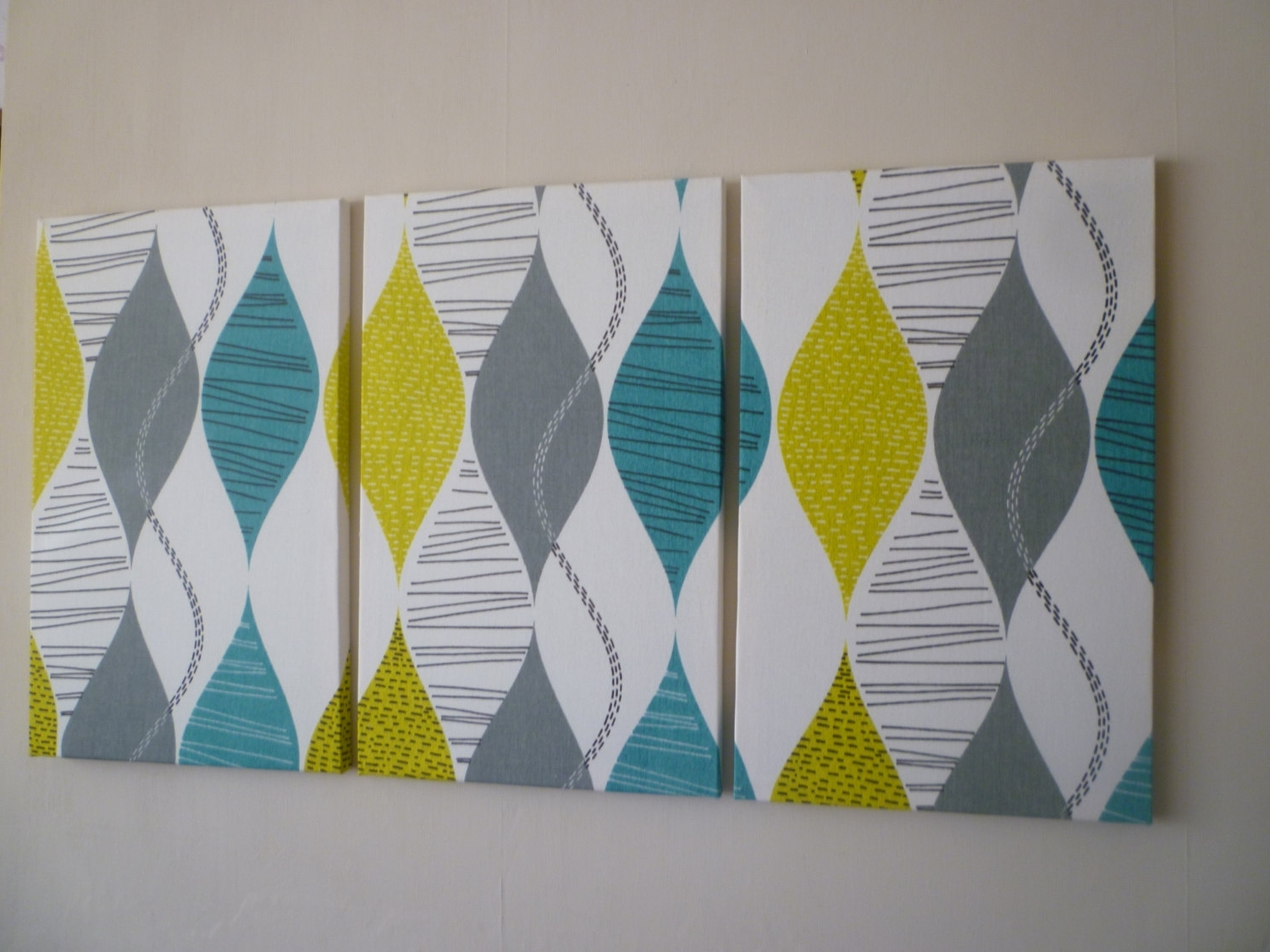 Big Fabric Wall Art Teal Lime Green Triptych 3 Piece Modern With Favorite Modern Fabric Wall Art (View 4 of 15)