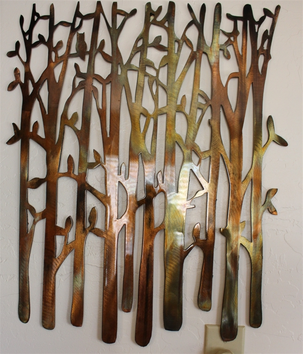 Birch Tree, Birch Tree Metal Art, Bamboo, Bird In The Trees, Bird With Newest Metal Wall Accents (View 3 of 15)