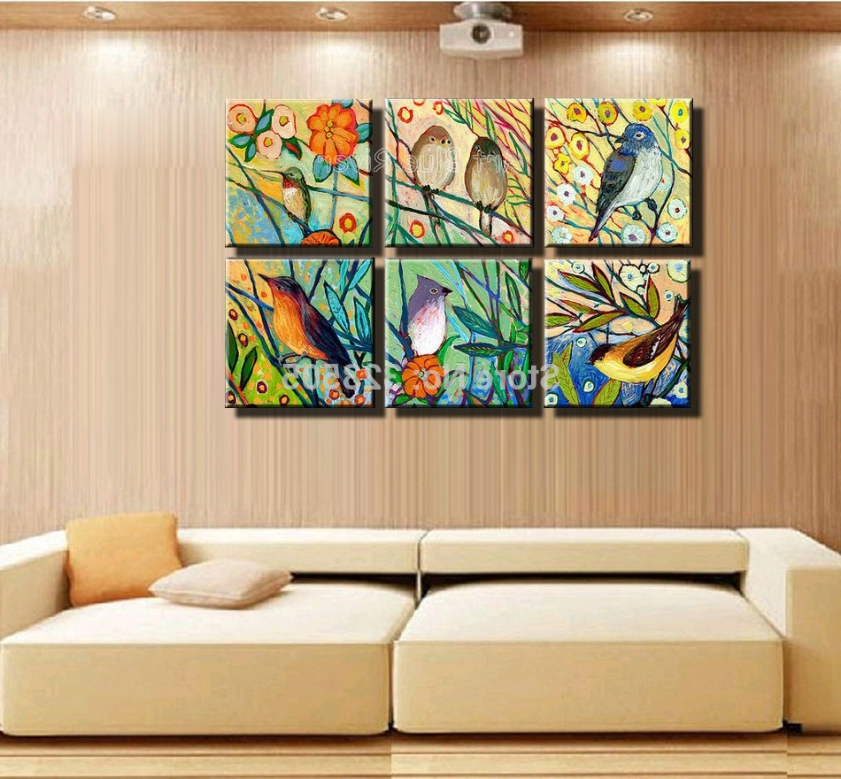 Birds Canvas Wall Art Inside Trendy Hand Painted High Quality Muti Panel Canvas Wall Art Abstract (View 2 of 15)