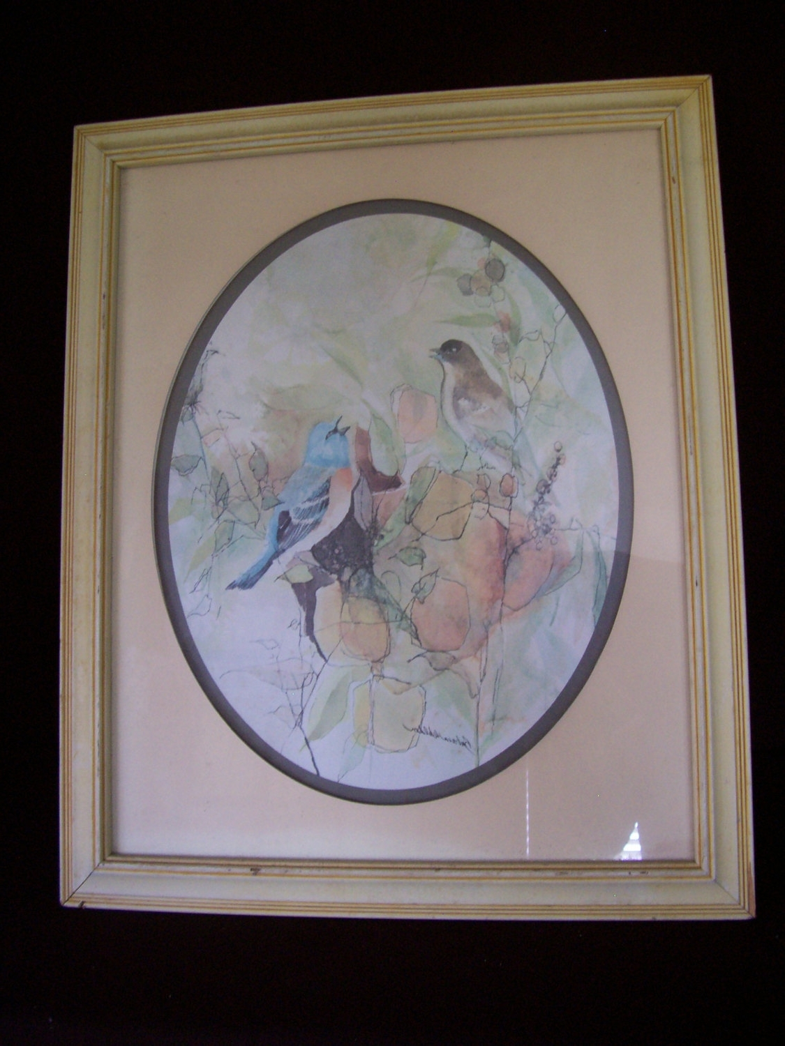 "Birds Framed Art Prints With Most Popular Vintage Signed Barbara Weldon Watercolor Print "" Birds "" Framed (View 6 of 15)"