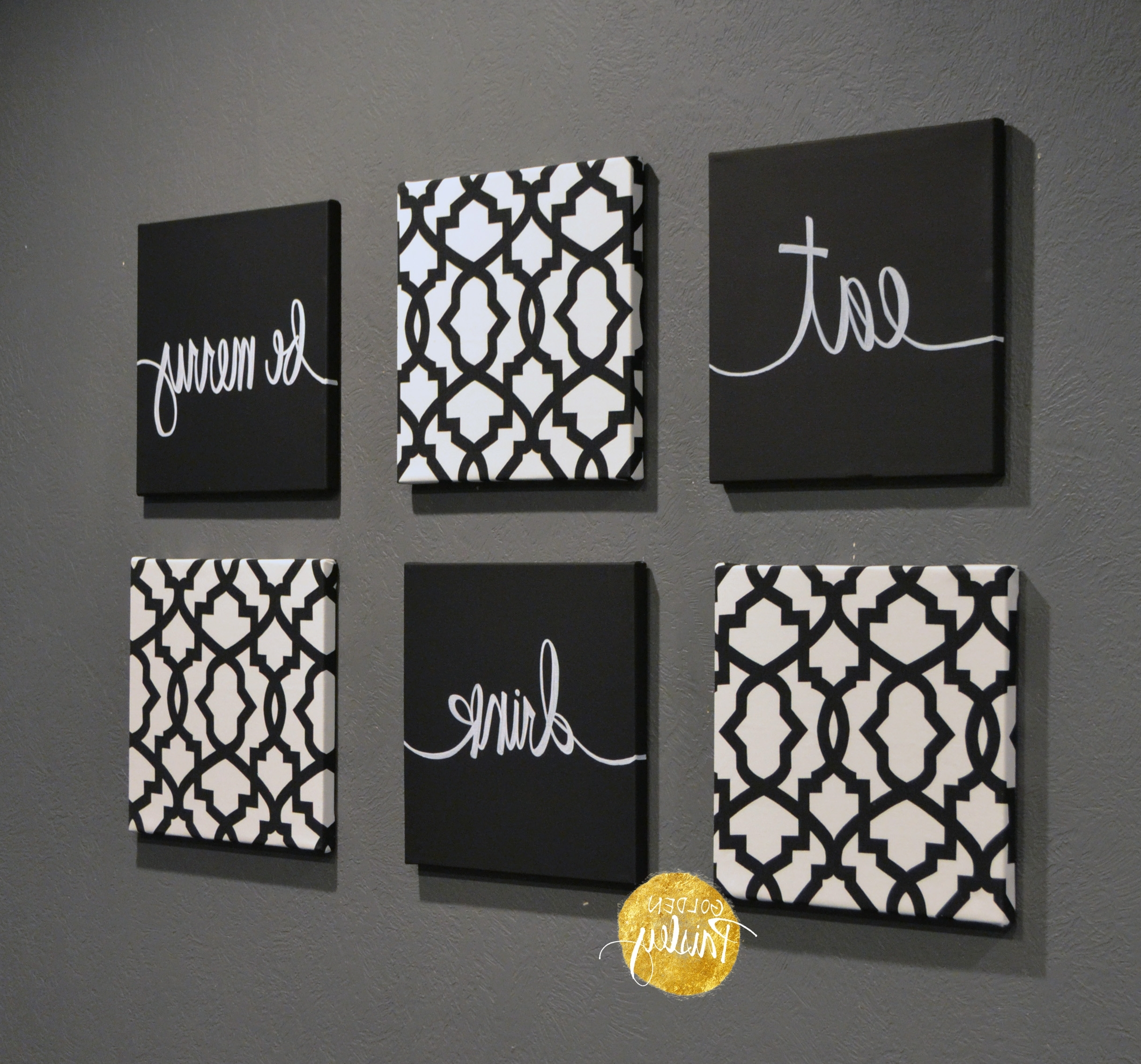 Black And White Fabric Wall Art With Regard To Most Popular Black And White Trellis 6 Pack Wall Art (Gallery 3 of 15)