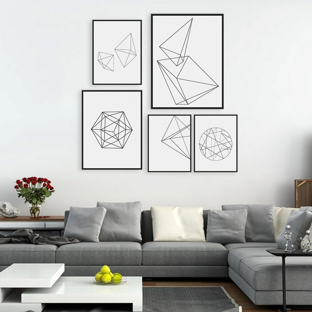 Black And White Framed Art Prints With Newest Modern Abstract Black White Geometric Shape A4 Poster Print (View 6 of 15)