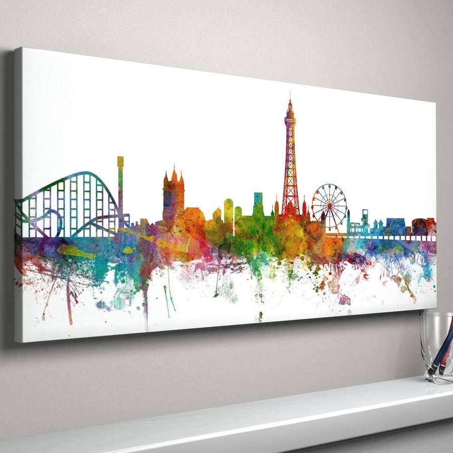 Blackpool Skyline Cityscape Art Printartpause With Regard To Trendy Edinburgh Canvas Prints Wall Art (Gallery 12 of 15)