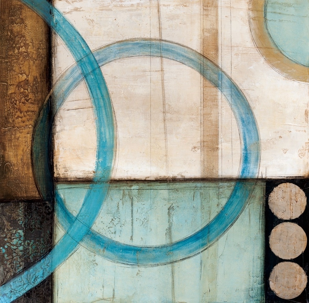 Blue And Brown Circles Modern Abstract Oil Painting Canvas Wall With Recent House Of Fraser Canvas Wall Art (View 4 of 15)