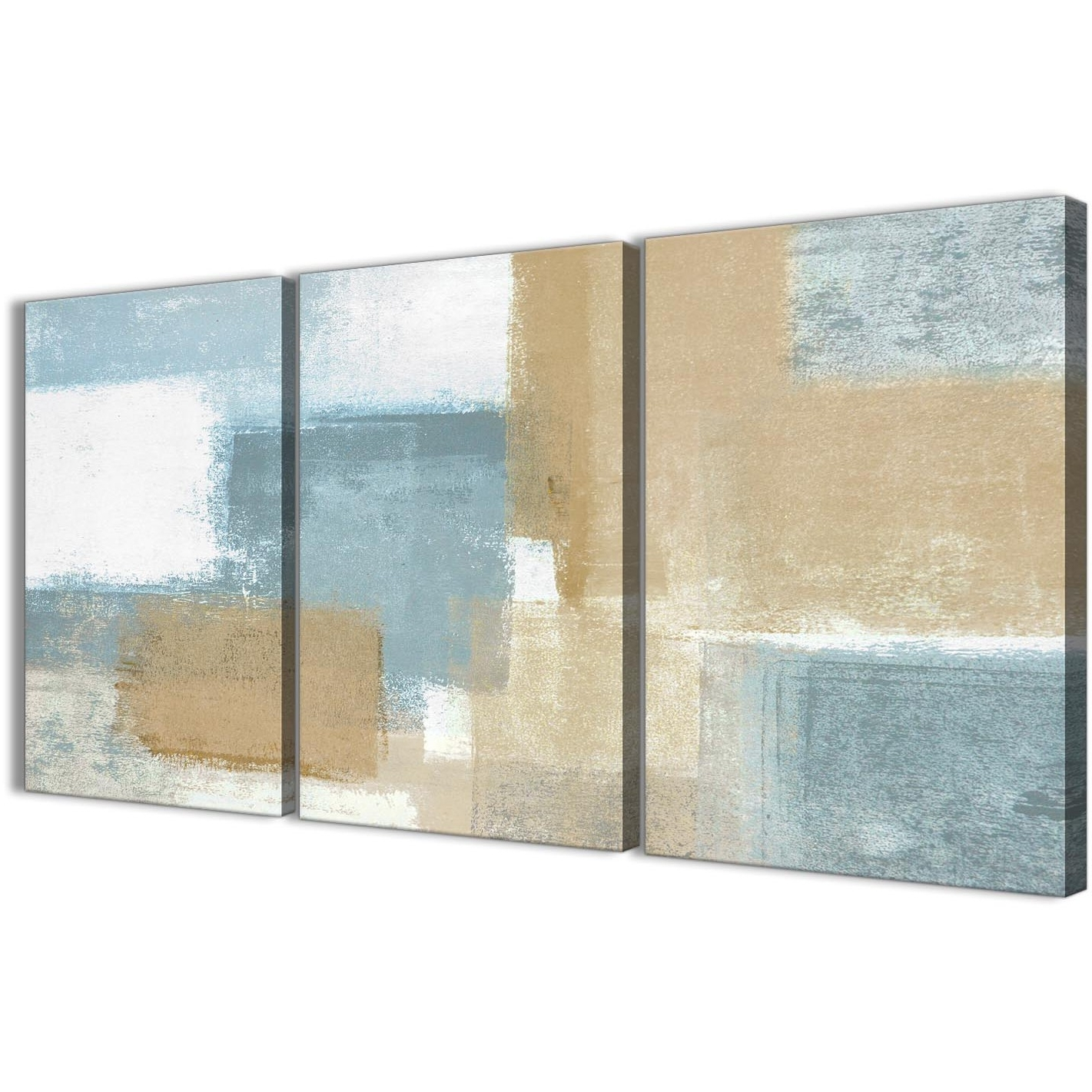 Blue Beige Brown Abstract Painting Canvas Wall Art Print – Multi With Widely Used Blue And Brown Canvas Wall Art (View 4 of 15)