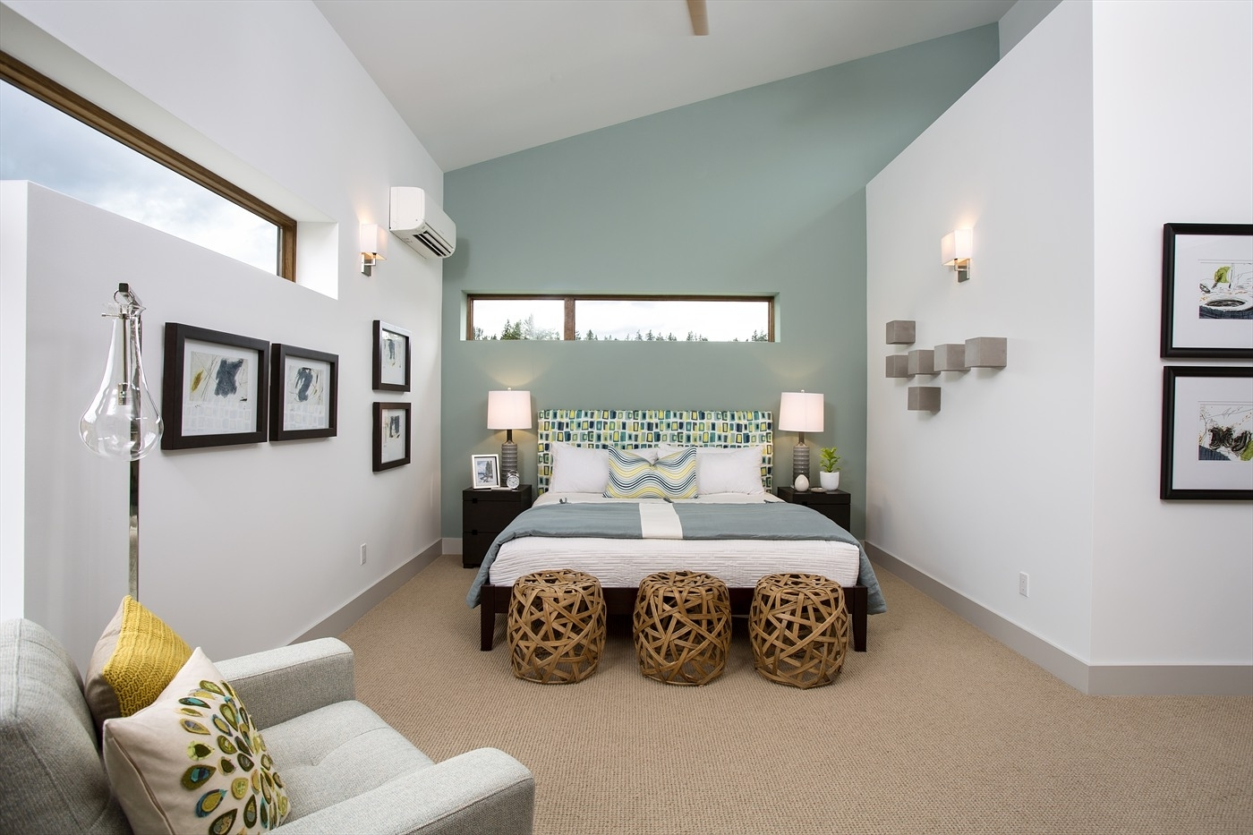 Blue Wall Accents Throughout Well Known Bedroom (View 4 of 15)