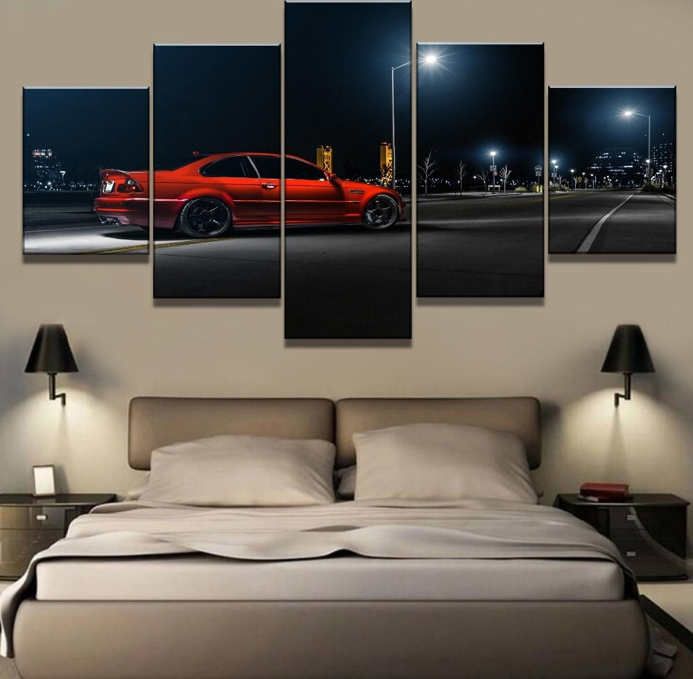 Bmw Canvas Wall Art For Latest Aliexpress : Buy Framework 5 Piece Hd Print Large Bmw Car (View 5 of 15)