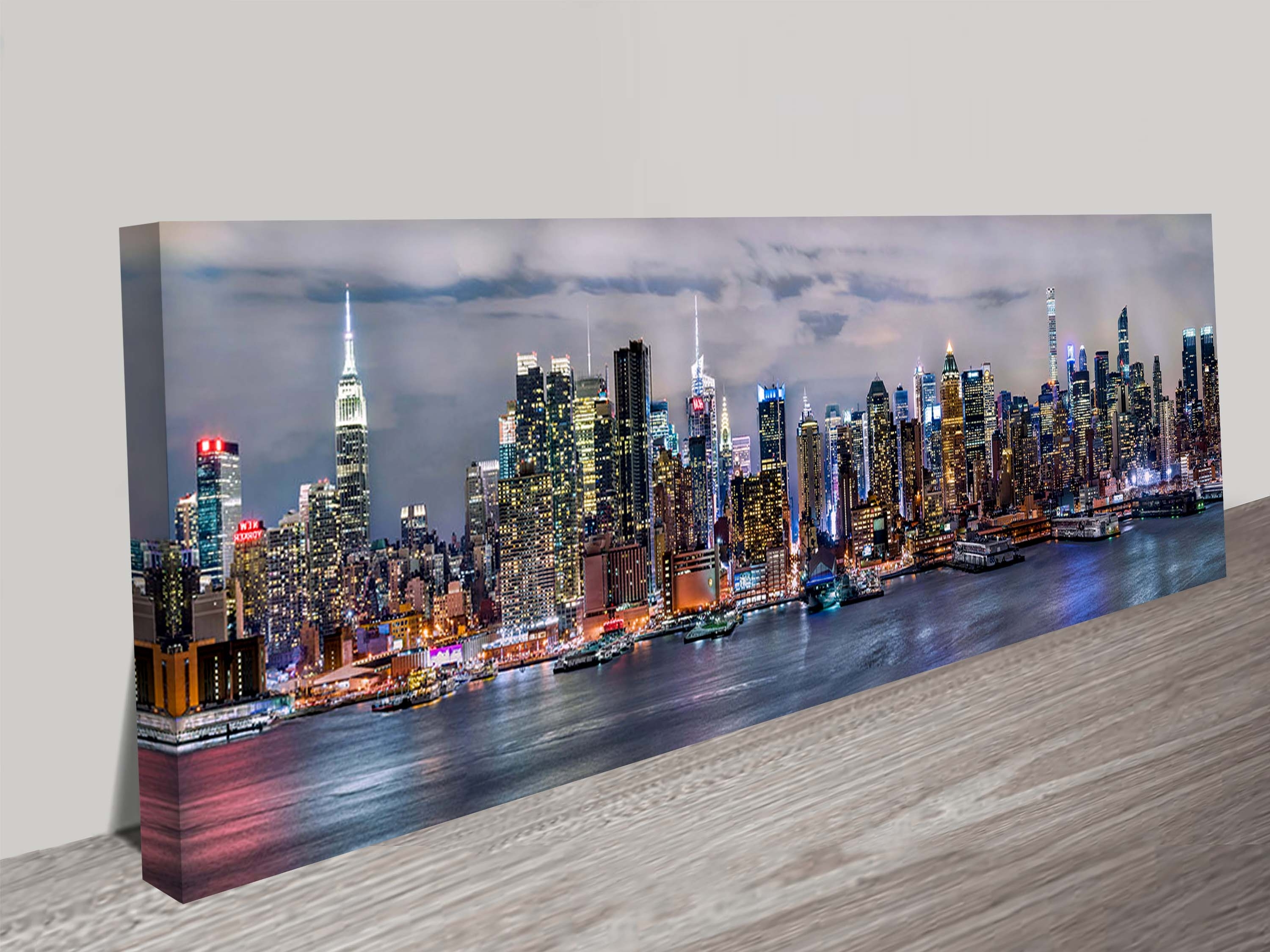 Brisbane Canvas Wall Art Intended For Latest Illuminated Manhattan Skyline New York Panoramic Canvas Aer (Gallery 14 of 15)