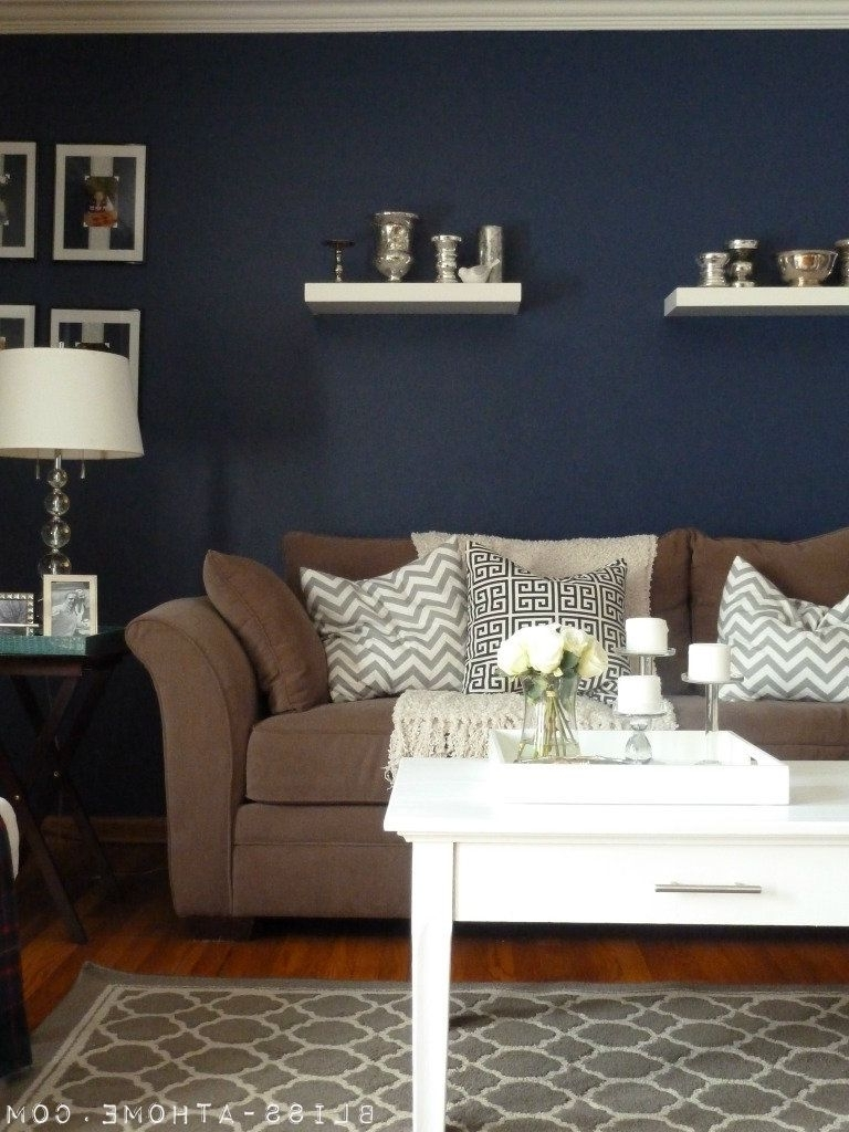 Brown Couch Wall Accents In Current Navy Wall Hmmm Never Thought Of Navyit's A Neutral And It Would (Gallery 12 of 15)
