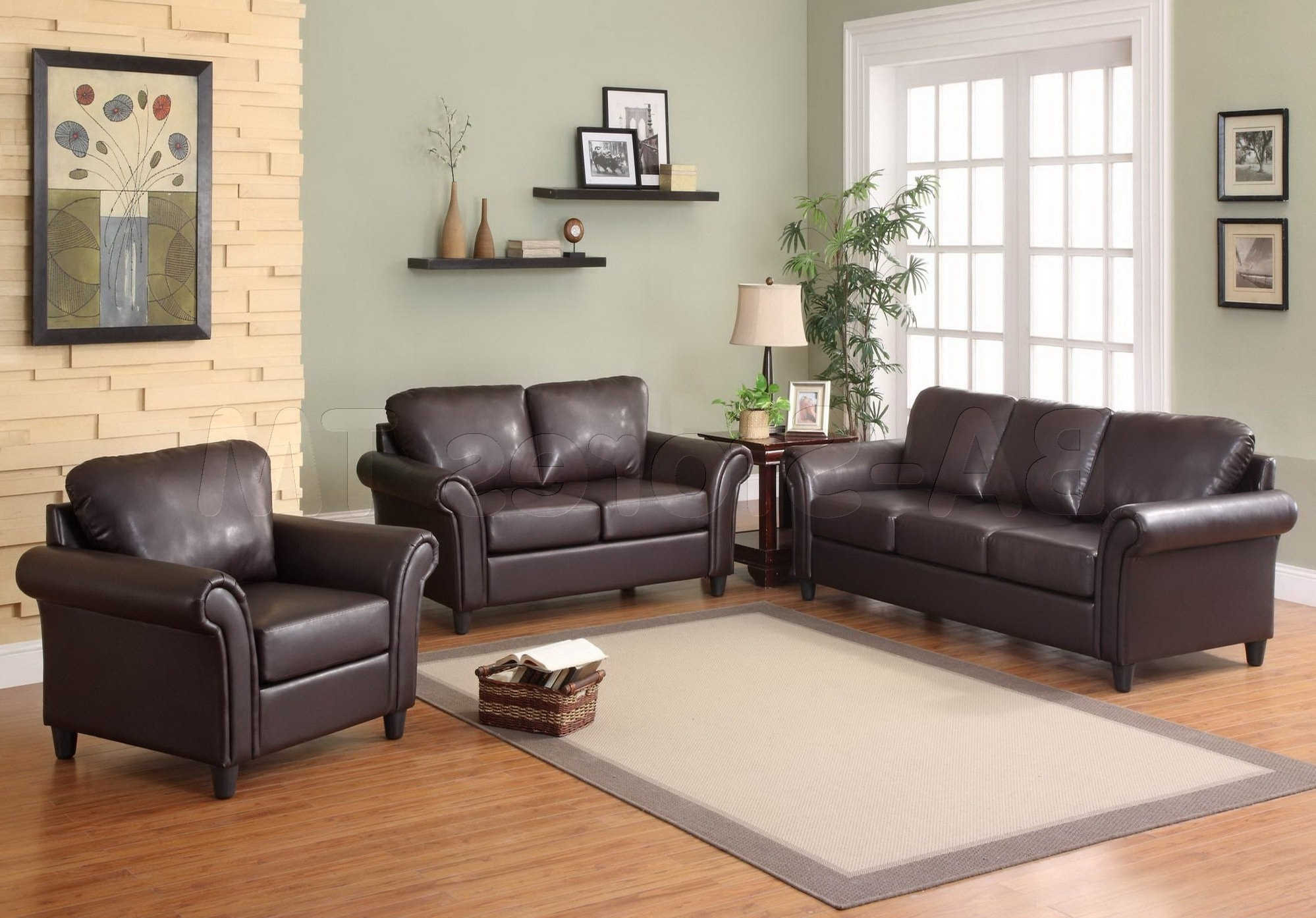 Brown Furniture Wall Accents In Fashionable Accent Wall With Brown Furniture Presenting Black Leather Sofa And (Gallery 5 of 15)