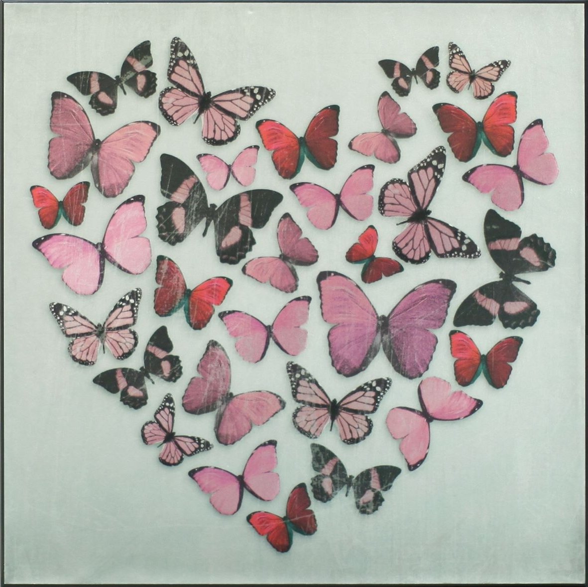 Butterflies Canvas Wall Art Regarding Preferred Butterfly Love Pink Superfoil Canvasarthouse : Wallpaper Direct (View 3 of 15)
