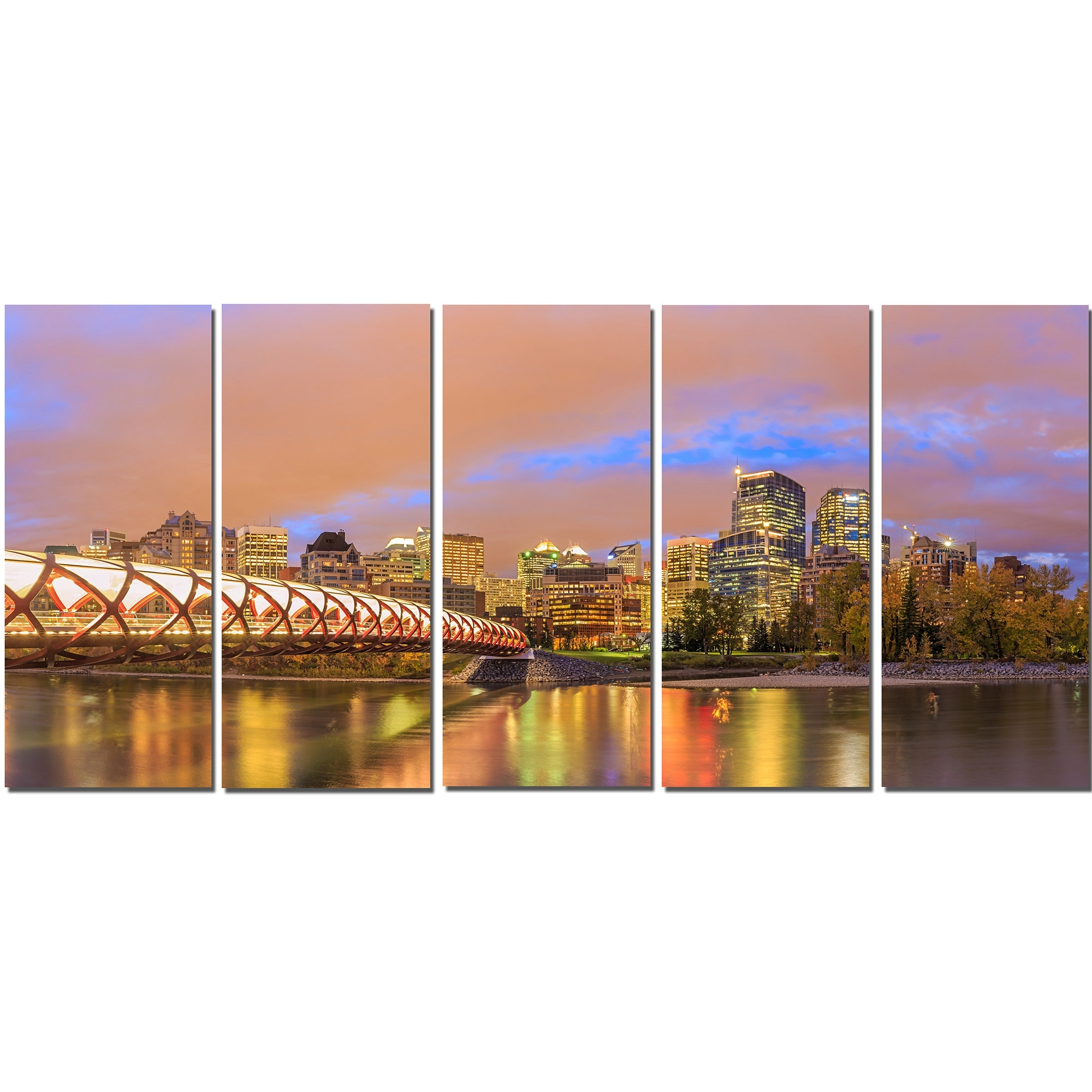 Calgary Canvas Wall Art Within Current Designart Calgary At Night 5 Piece Wall Art On Wrapped Canvas Set (View 9 of 15)