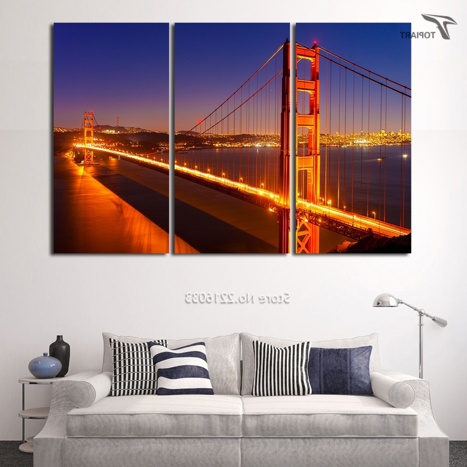 Canvas Painting Set Golden Gate Bridge 3 Panel Large Wall Art Intended For Recent Golden Gate Bridge Canvas Wall Art (View 5 of 15)