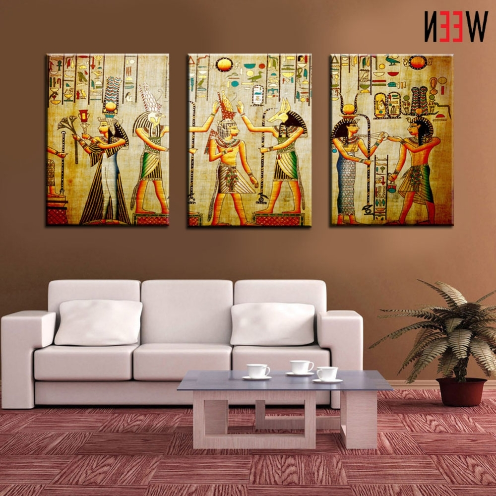 Canvas Painting Triple Abstract Picture Egyptian Mural Room Modern Inside Favorite Egyptian Canvas Wall Art (View 2 of 15)