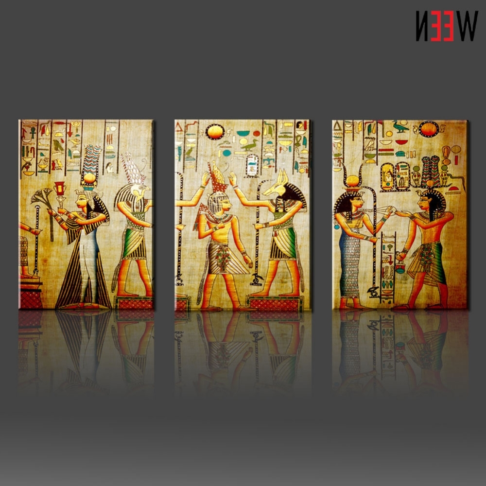 Canvas Painting Triple Abstract Picture Egyptian Mural Room Modern With Best And Newest Egyptian Canvas Wall Art (Gallery 8 of 15)