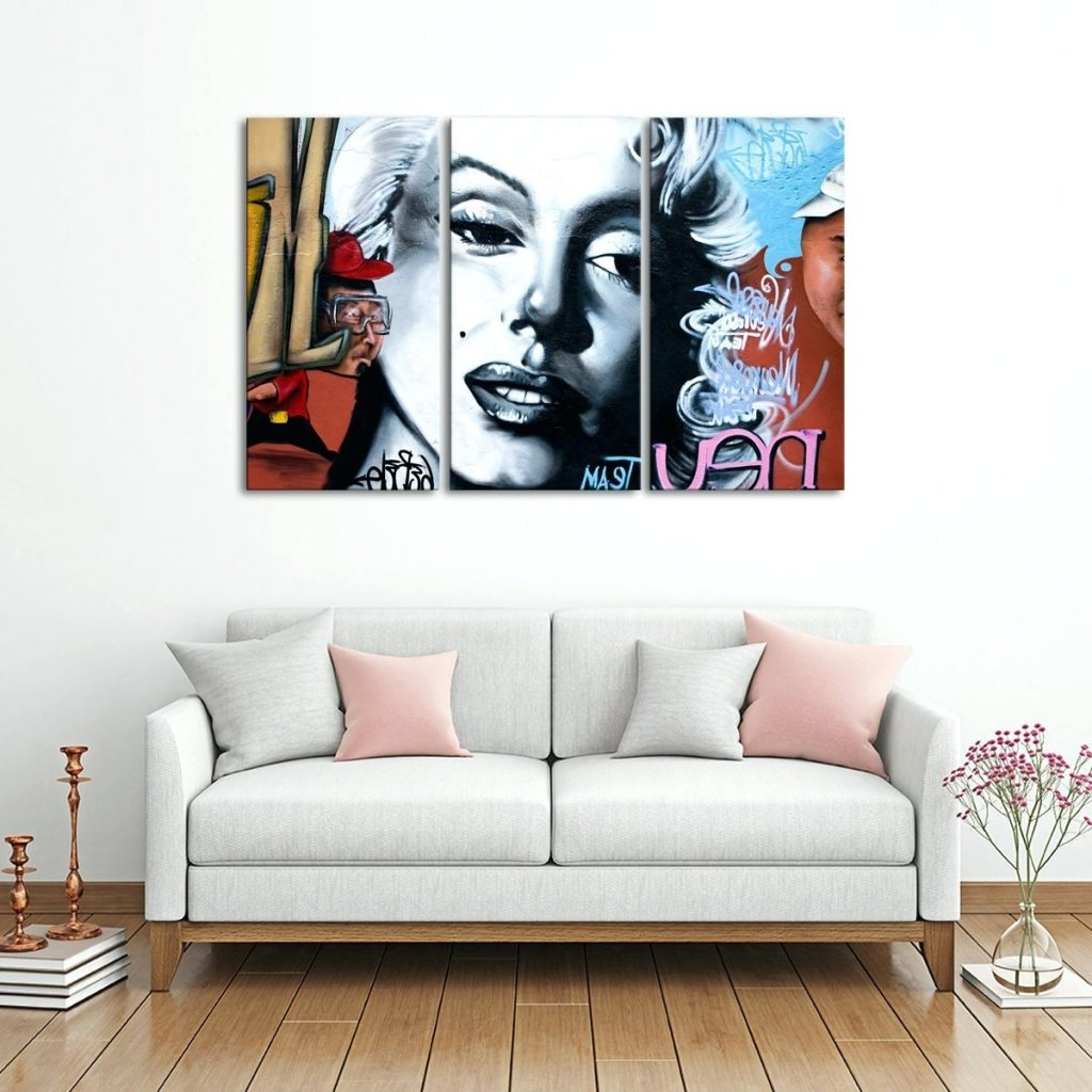 Canvas Wall Art At Target Within Well Known Wall Arts ~ Marilyn Monroe Graffiti Multi Panel Canvas Wall Art (Gallery 13 of 15)