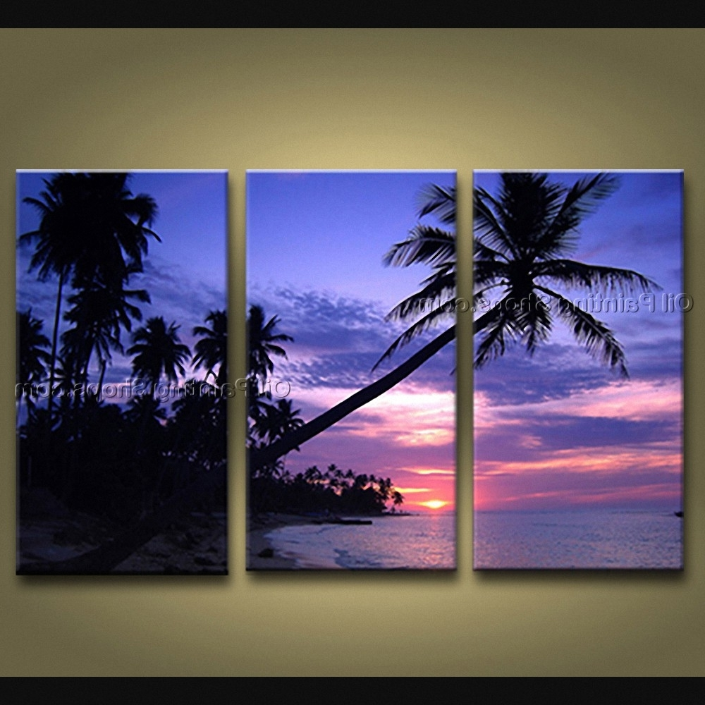 Canvas Wall Art Beach Scenes Within Latest Contemporary Wall Art Seascape Painting Hawaii Beach On Canvas (View 14 of 15)
