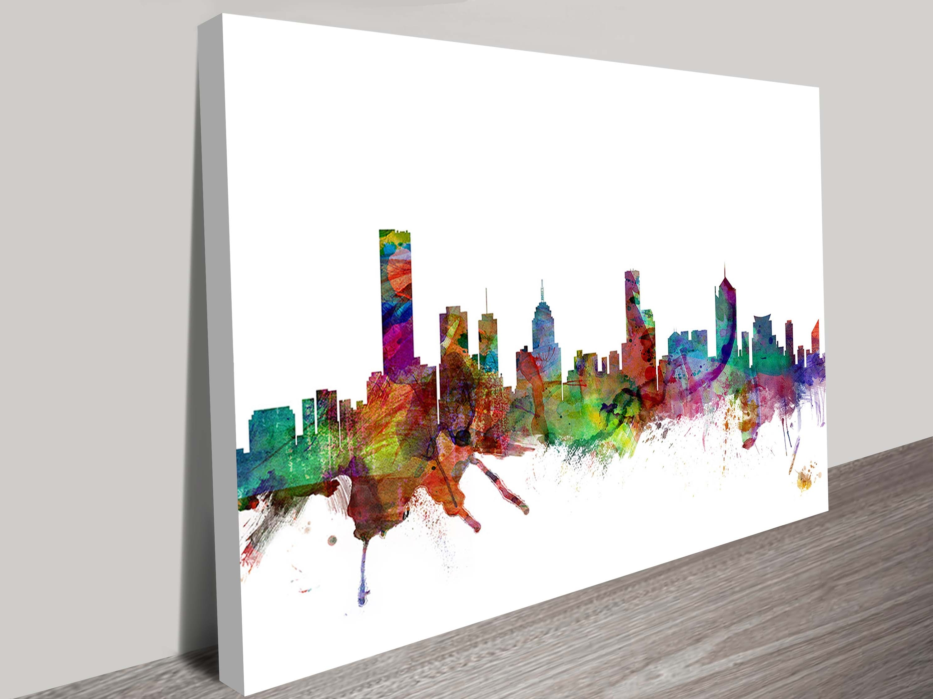 Canvas Wall Art In Melbourne With Current Watercolour Melbourne Skyline Artworkmichael Tompsett (View 7 of 15)
