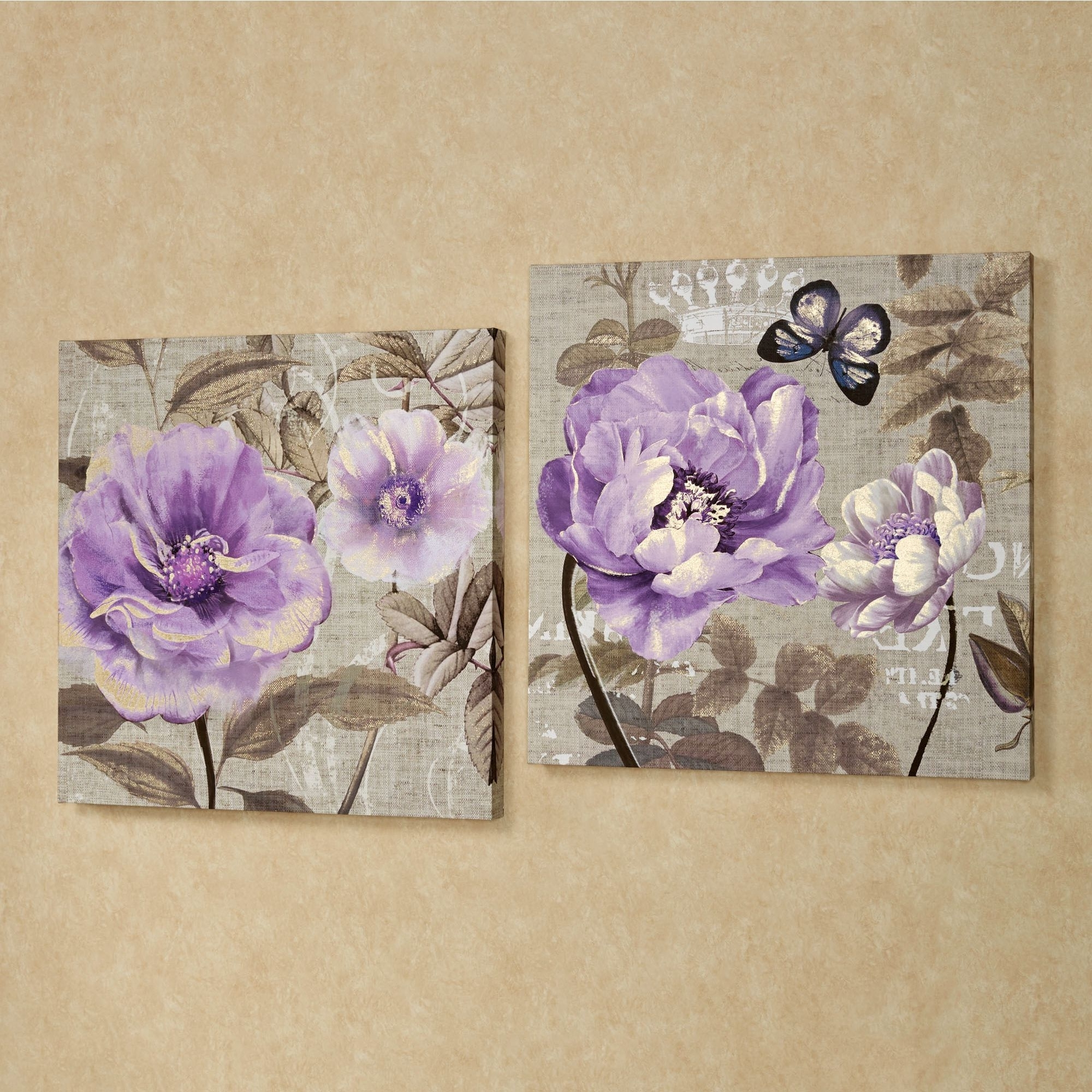 Canvas Wall Art In Purple For Popular Floral Delight Purple Flower Canvas Wall Art Set (Gallery 14 of 15)