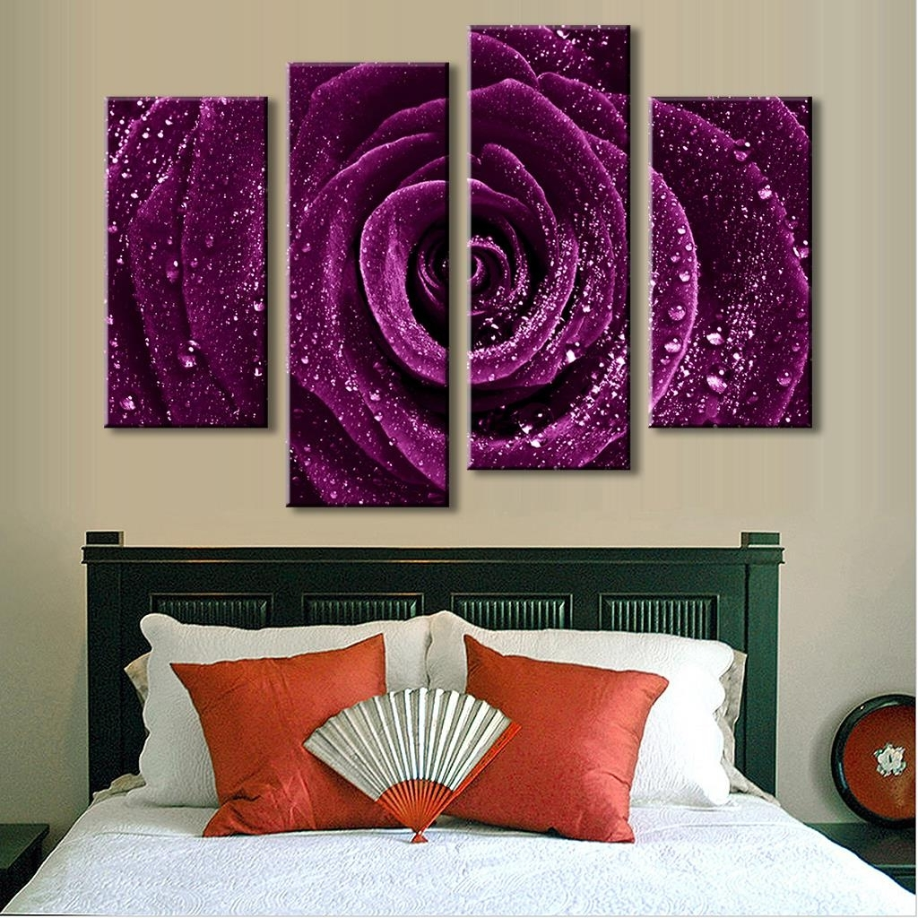 Canvas Wall Art In Purple Within Most Recently Released 4 Pcs/set Combined Flower Paintings Purple Rose Modern Wall (View 6 of 15)