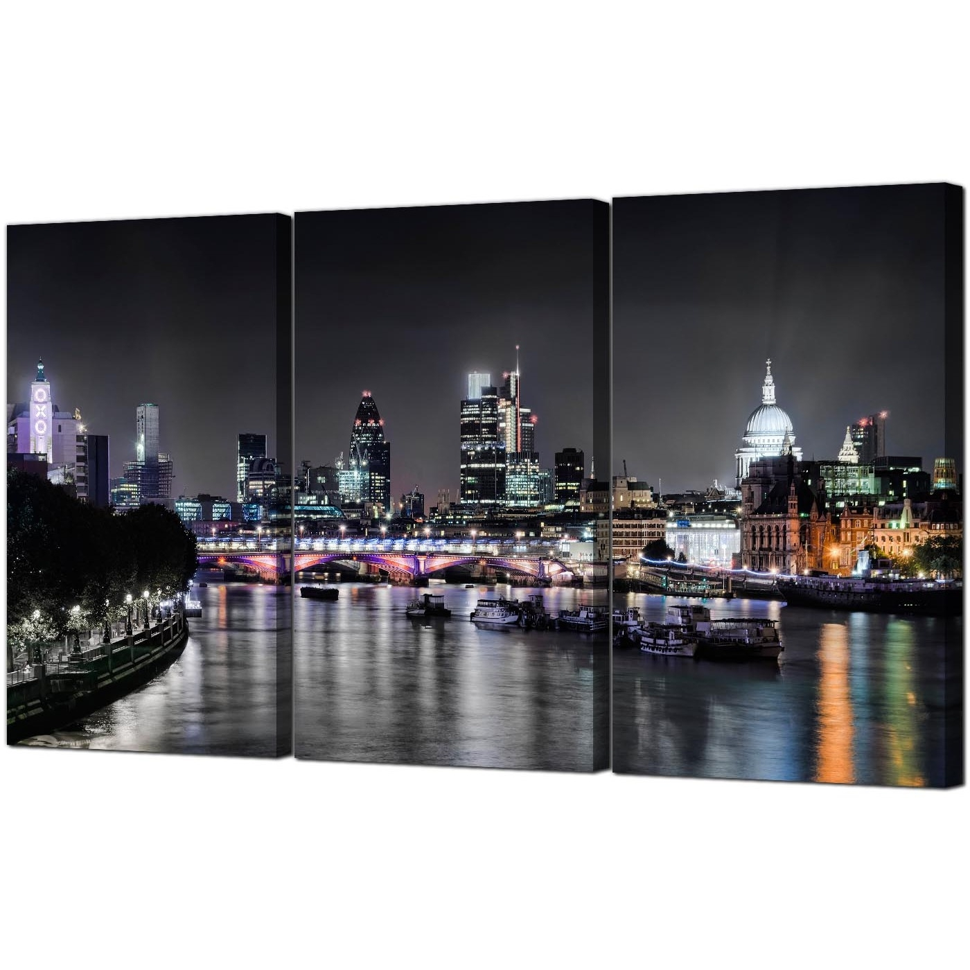 Canvas Wall Art Of London In Trendy Cheap London Skyline At Night Canvas Art 3 Panel For Your Living Room (View 9 of 15)