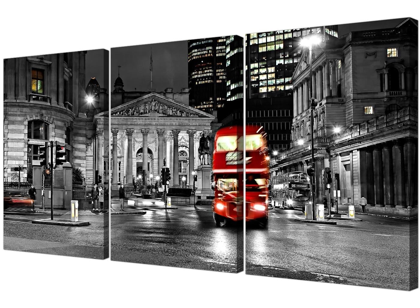 Canvas Wall Art Of London Regarding Current Red London Bus On A Black & White Background Canvas Wall Art – (View 4 of 15)