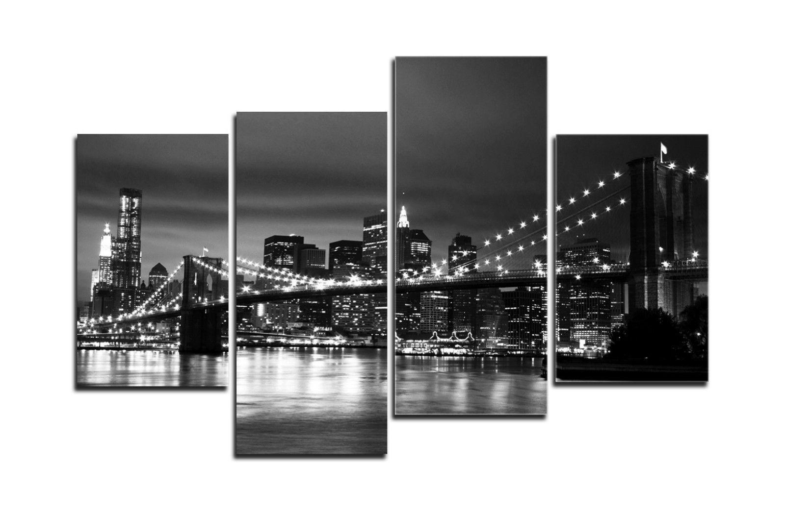 Canvas Wall Art Of New York City With Best And Newest Hd Canvas Print Home Decor Wall Art Painting New York Bridge – No (View 12 of 15)