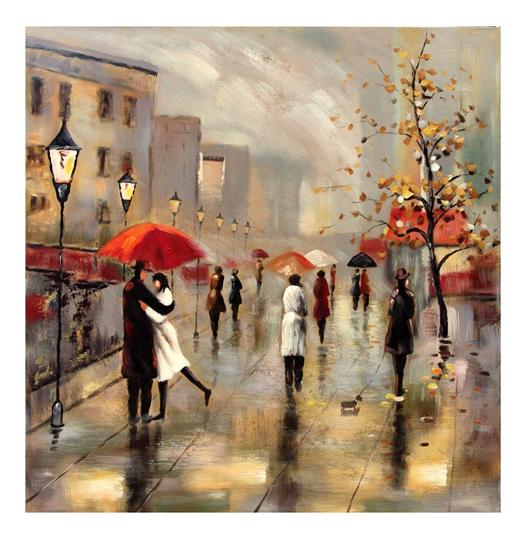 Canvas Wall Art Of Paris Intended For Favorite Modern Large Paris City Rain Kiss Umbrellas Canvas Wall Art Print (View 3 of 15)