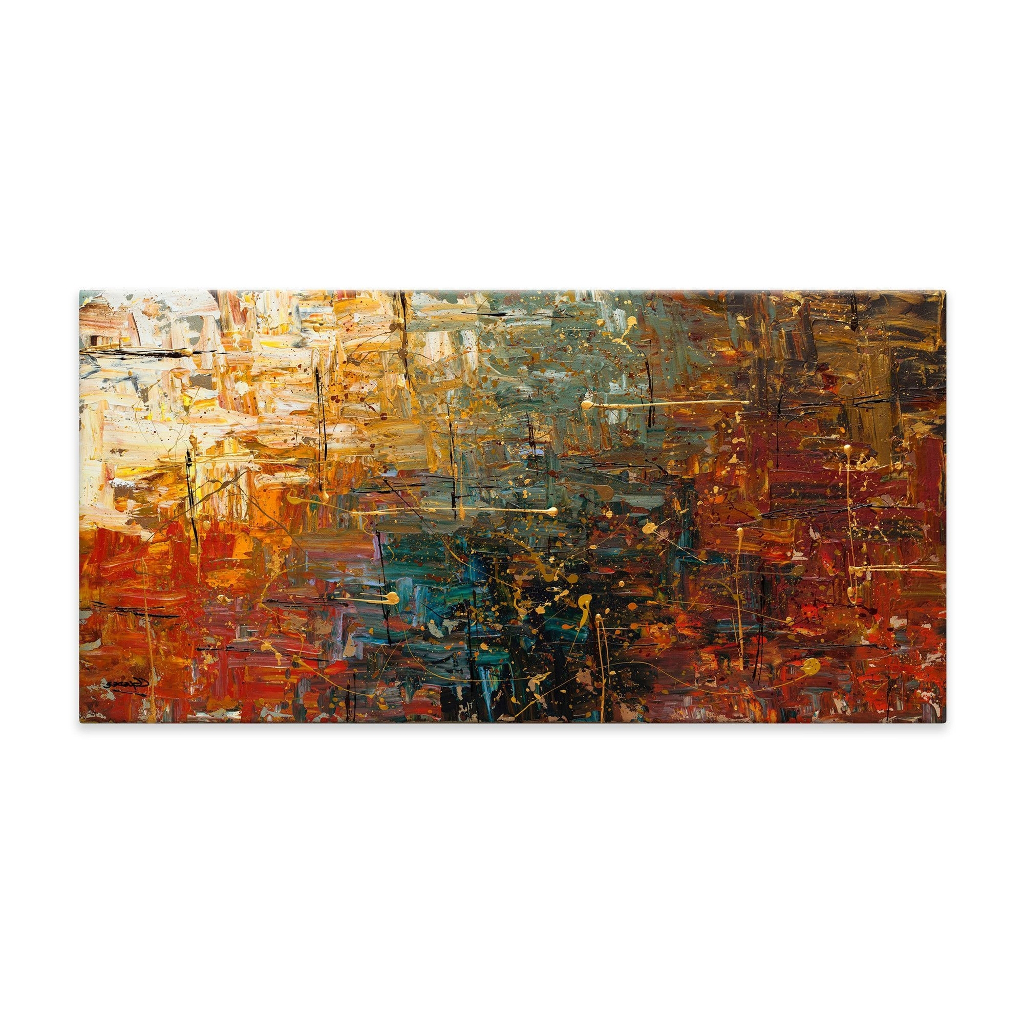 Canvas Wall Art Pairs In Trendy Gold Splashcarmen Guedez Painting Print On Canvas (View 1 of 15)