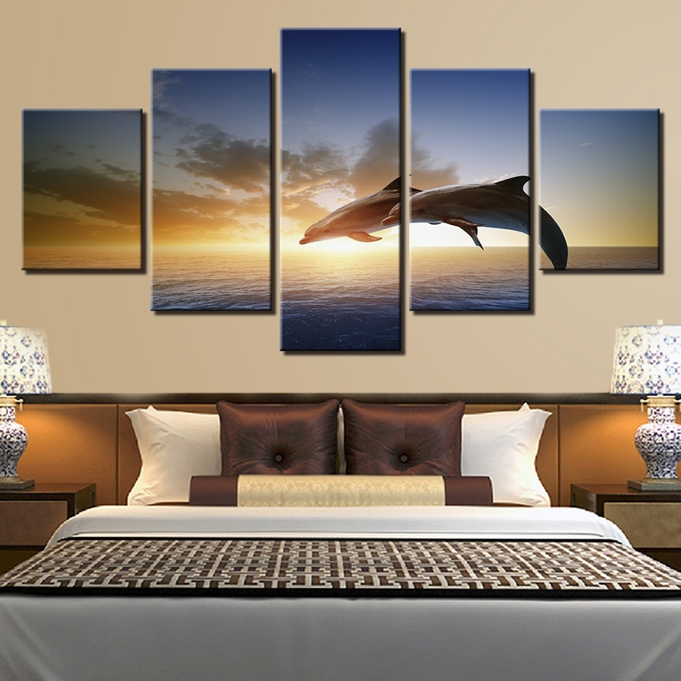 Canvas Wall Art Pictures Living Room Decor 5 Pieces Jumping Within Trendy Jump Canvas Wall Art (View 15 of 15)