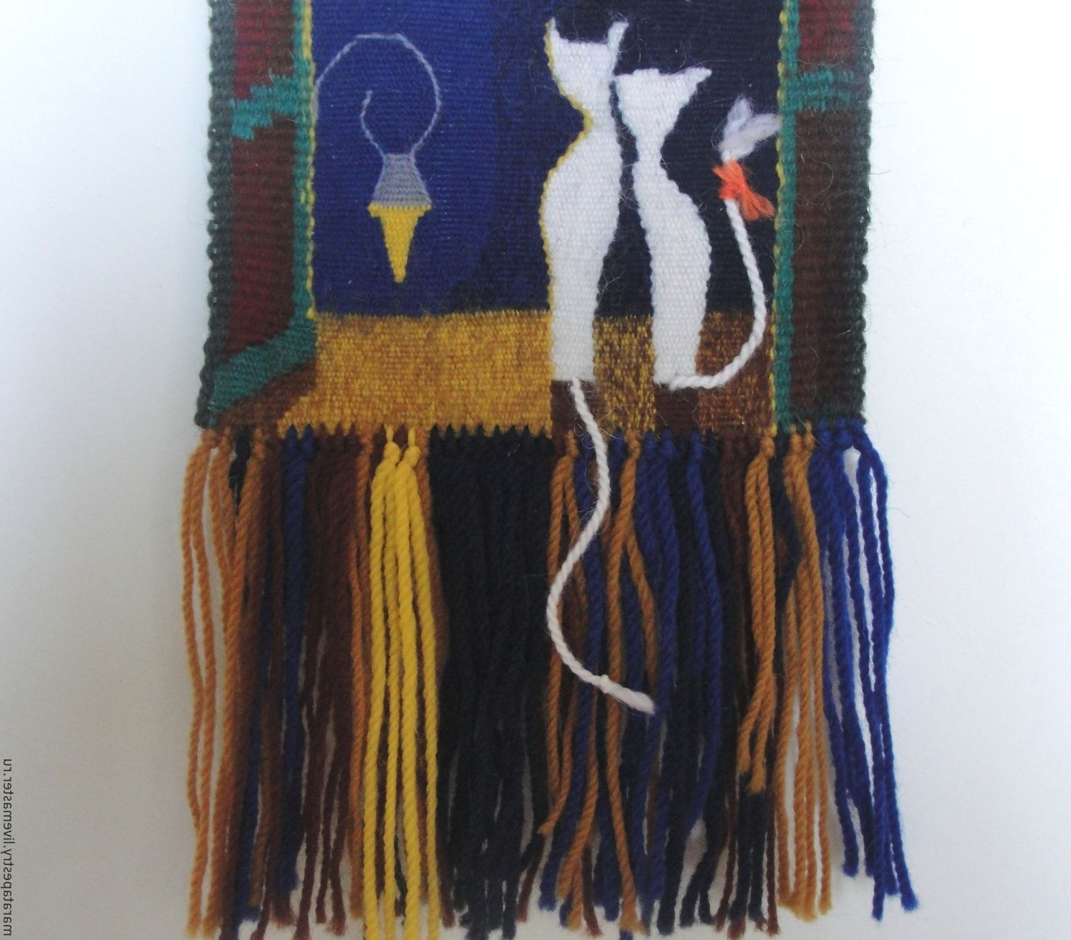 Cats Woven Wall Hanging Woven Tapestry Wall Art Fiber Textile With Most Recent Woven Textile Wall Art (View 3 of 15)