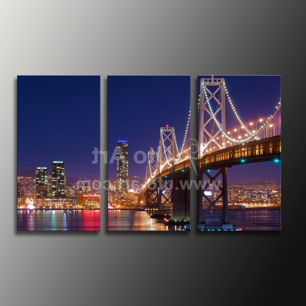 Cheap Custom Canvas Prints 3 Panel Wall Art Painting California For Well Known Golden Gate Bridge Canvas Wall Art (View 8 of 15)