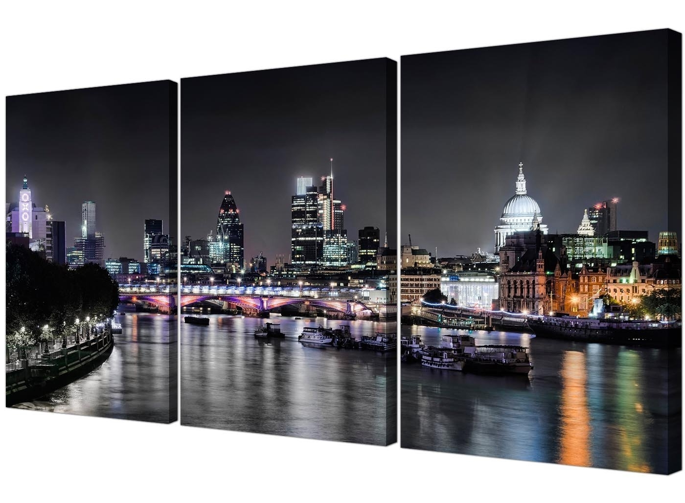 Cheap London Skyline Canvas Art – 3 Panel For Your Living Room Intended For Best And Newest London Canvas Wall Art (View 7 of 15)