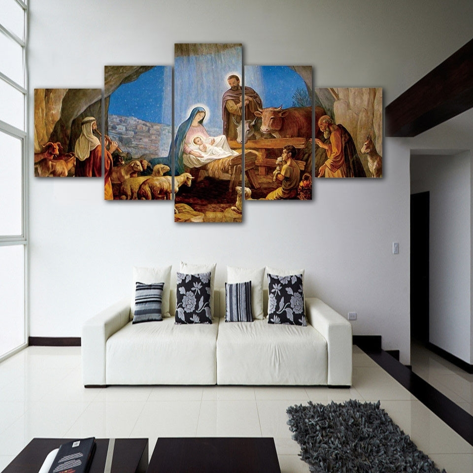 Christmas Birth Of Jesus 5pcs Painting Printed Canvas Wall Art In Latest Jesus Canvas Wall Art (View 7 of 15)