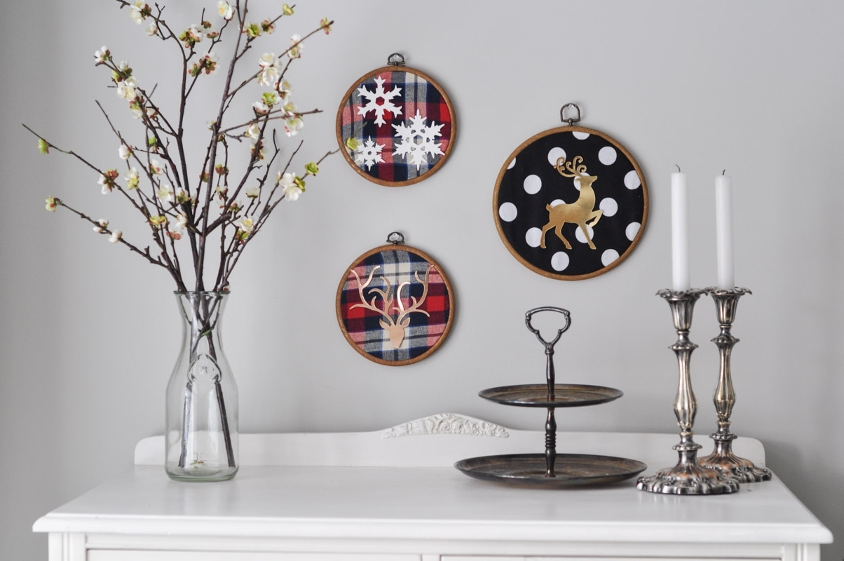 Christmas Embroidery Hoop Art With The Sizzix Big Shot – Suburble Inside Preferred Fabric Hoop Wall Art (View 2 of 15)