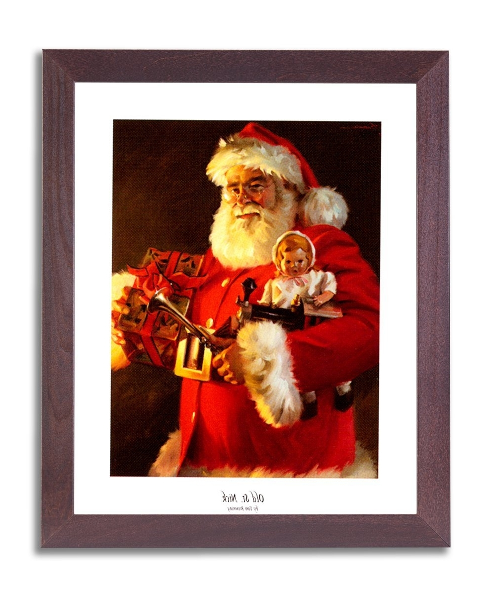 Christmas Framed Art Prints Pertaining To Trendy Amazon: Old St Nick Santa Clause Christmas Picture Framed Art (Gallery 3 of 15)