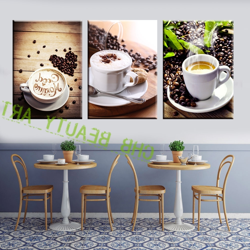 Coffee Canvas Wall Art In Popular 3 Panel Coffee Tea Modern Canvas Print Painting Wall Art Picture (View 3 of 15)