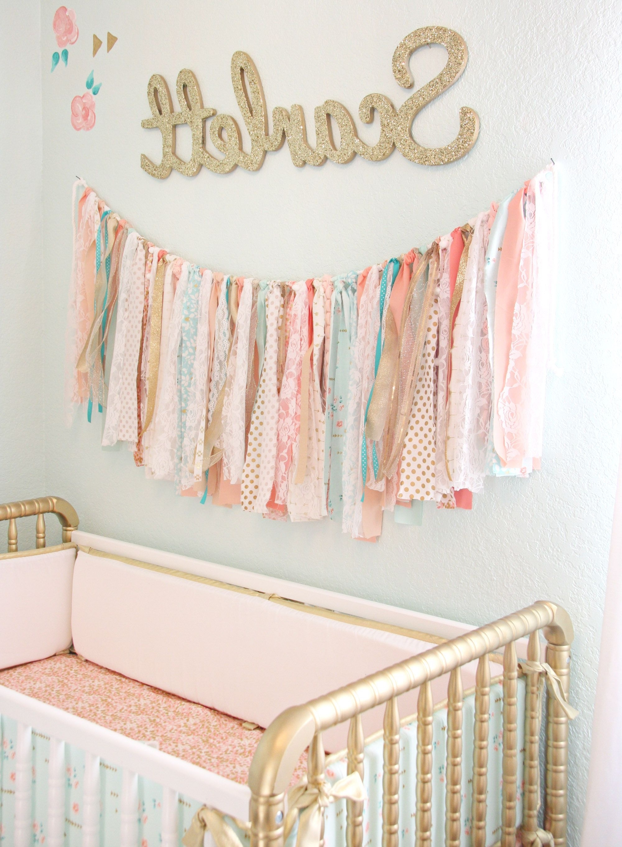 Coral, Mint, And Gold Vintage Style: Scarlett's Nursery Reveal With Latest Aztec Fabric Wall Art (View 6 of 15)