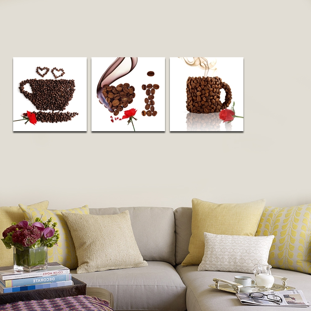 Creative Coffee Cup Canvas Print/triptych Canvas Art/rose Flower Throughout Most Recently Released Coffee Canvas Wall Art (View 5 of 15)