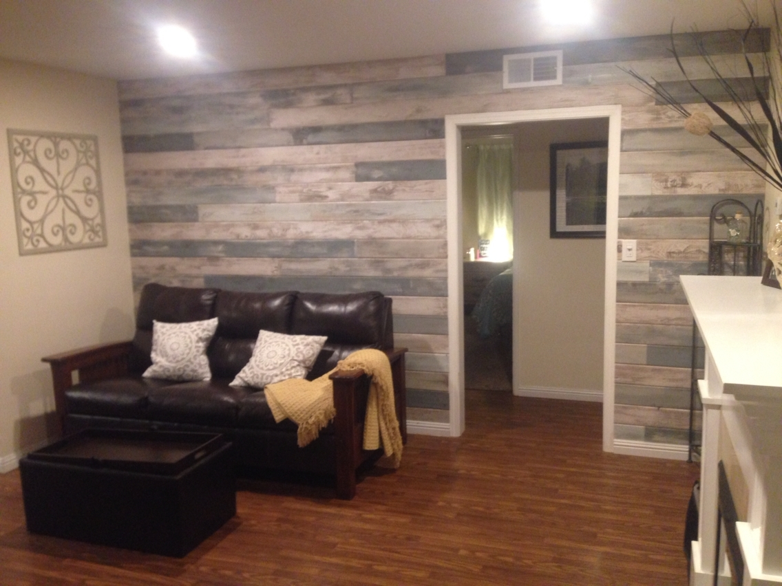 Current Accent Wall Blue, White, Grey Stained And Tongue And Grove Inside Basement Wall Accents (View 7 of 15)