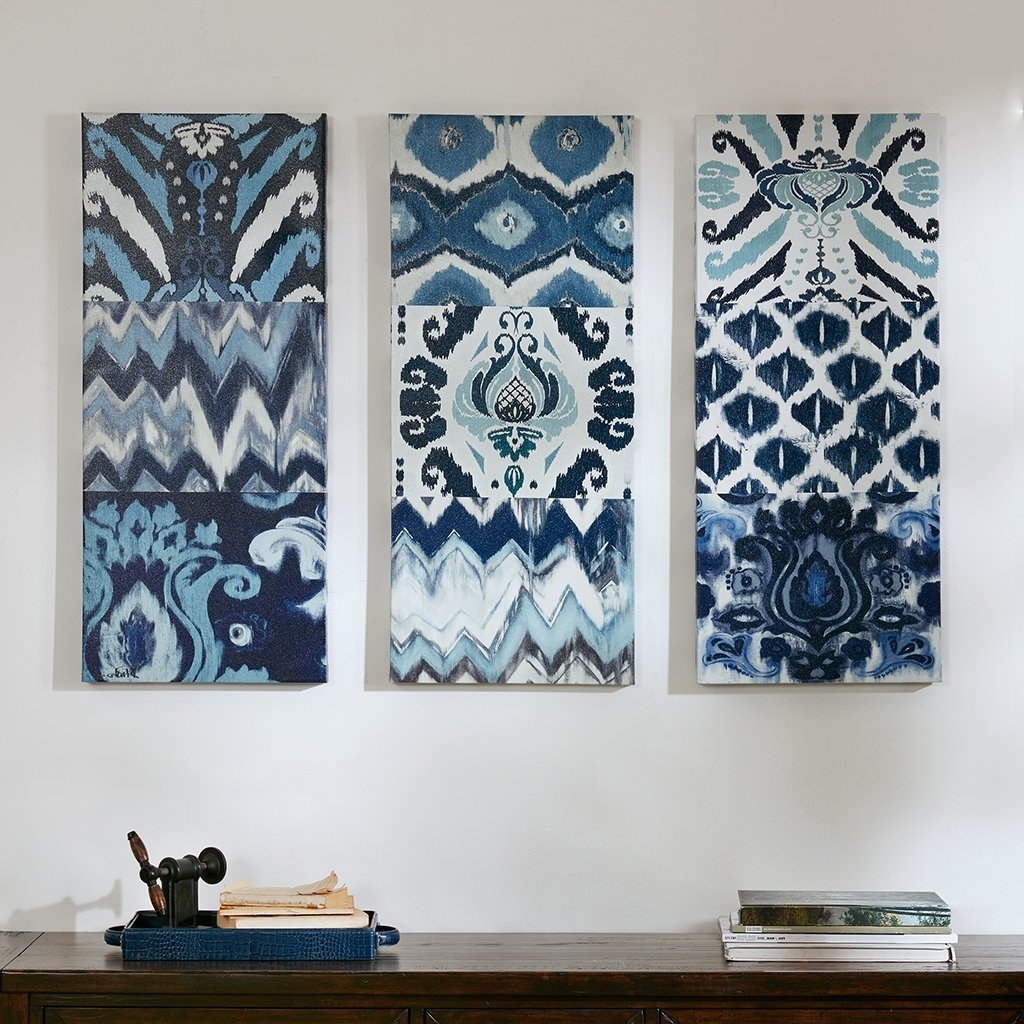 Current Amazon: Flourish Ikat Gel Coat Canvas 3Pcs Set Blue: Wall Art In Ikat Fabric Wall Art (View 2 of 15)