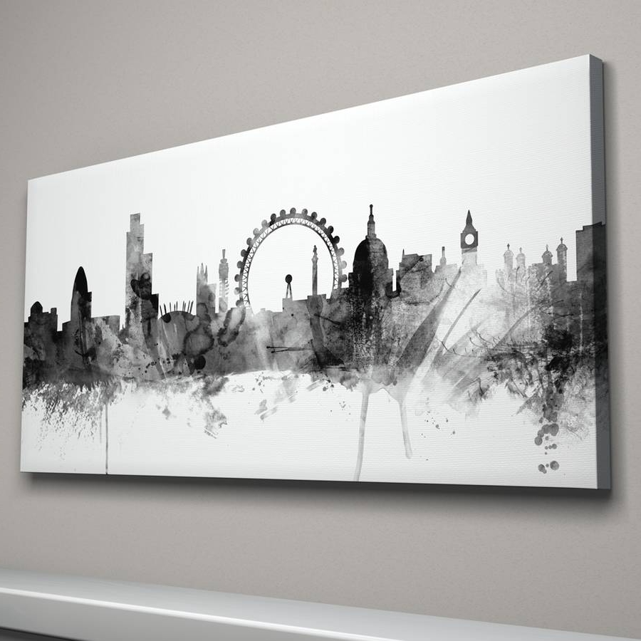 Current Canvas Wall Art Of London Throughout London Skyline Cityscape Black And Whiteartpause (View 8 of 15)