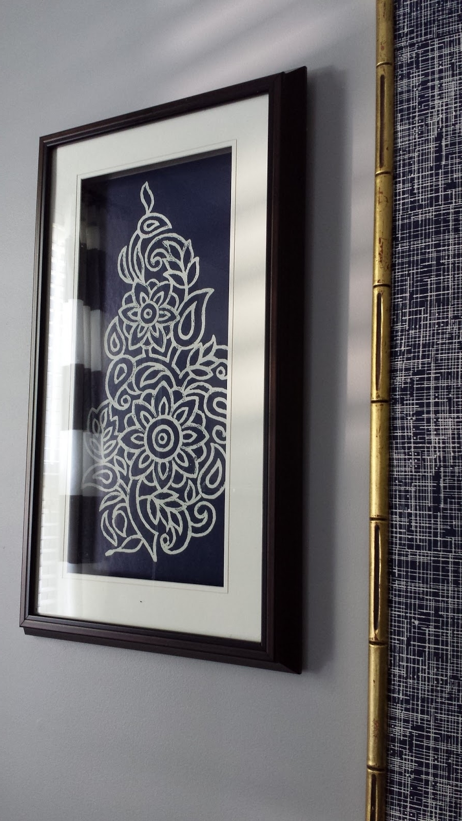 Current Diy Framed Fabric Wall Art With Focal Point Styling: Diy Indigo Wall Art With Framed Fabric (View 1 of 15)