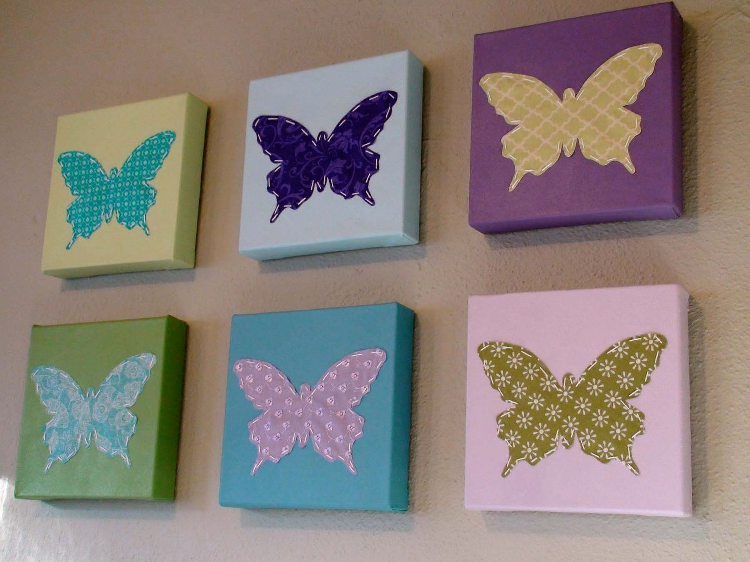 Current Fabric Butterfly Wall Art Within Set Of 6 Butterfly Wall Art On Etsy Diy It With Canvas And (Gallery 14 of 15)